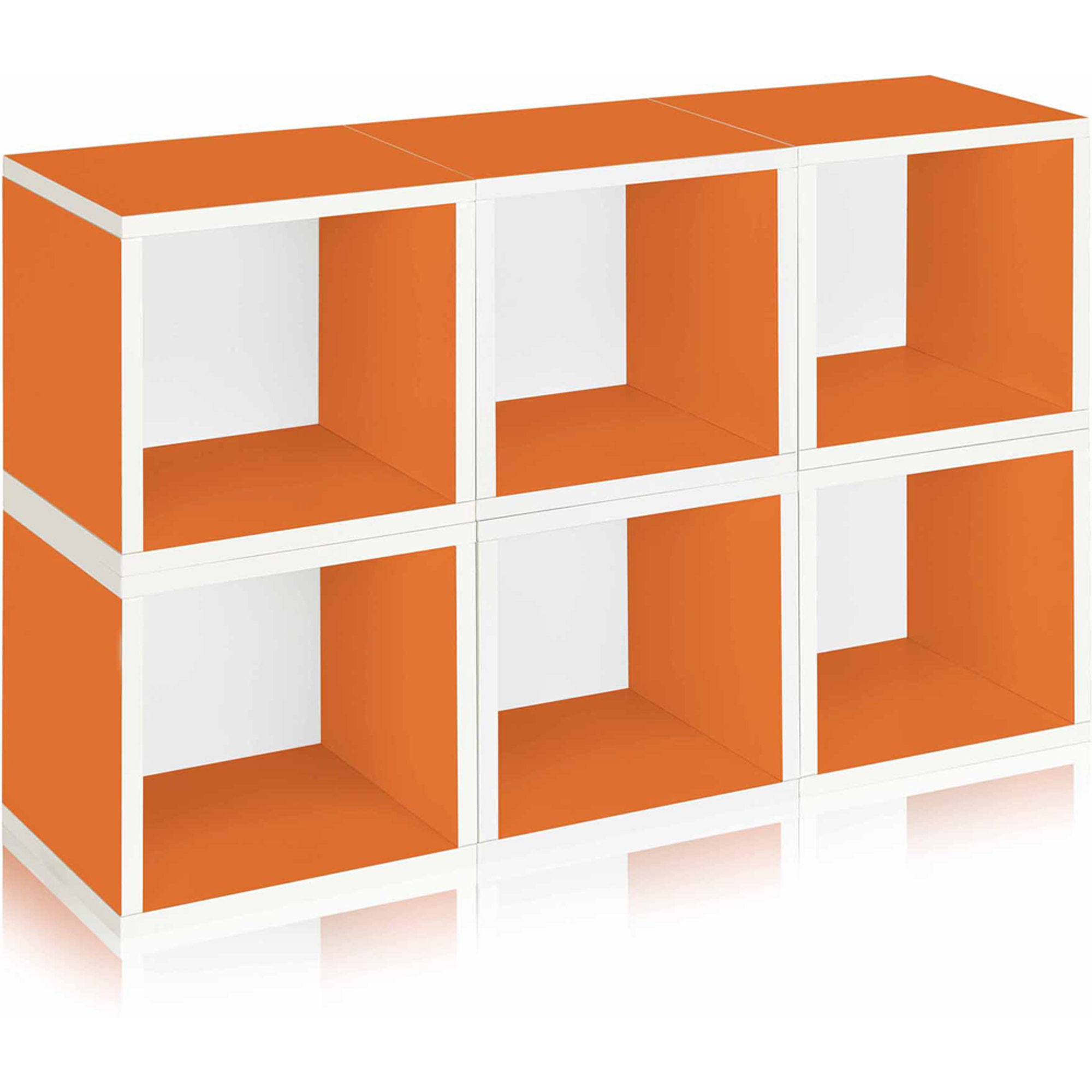 Way Basics Eco Stackable Modular Storage Cubes, Orange, 6-Pack
