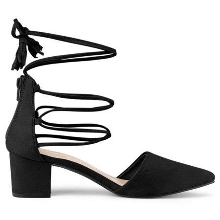 Unique Bargains Women's Pointed Toe D'Orsay Block Heels Lace Up Pumps Black US 10 - image 4 of 7