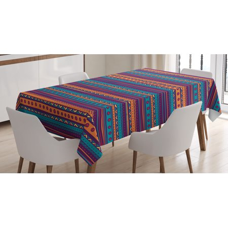 Mexican Kitchen - Tribal Tablecloth, Striped Retro Aztec Pattern with Rich Mexican Ethnic Color Folkloric Print, Rectangular Table Cover for Dining Room Kitchen, 60 X 90 Inches, Teal Plum and Orange, by Ambesonne