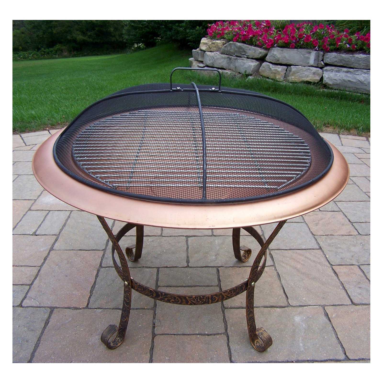 Oakland Living 30 in. Round Antique Bronze Fire Pit with Grill