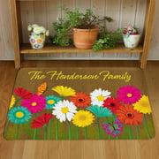 Personalized Spring Flowers Doormat