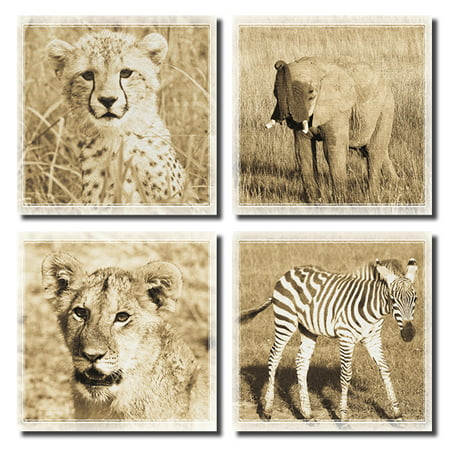 4 Baby African Safari Animals Prints Elephant Cheetah Lion Zebra Photographs Sepia Art Posters (Zebra Cheetah Print)