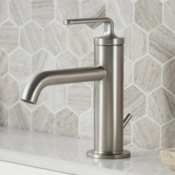 Ramus Single Handle Bathroom Sink Faucet With Lift Rod Drain In Spot Free Stainless Steel Walmart Com Walmart Com