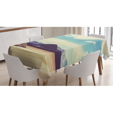 Americana Landscape Decor Tablecloth, Northern Brazilian Plateau Wanderlust Serene in Abandoned Rocks Paint, Rectangular Table Cover for Dining Room Kitchen, 60 X 84 Inches, Multi, by Ambesonne