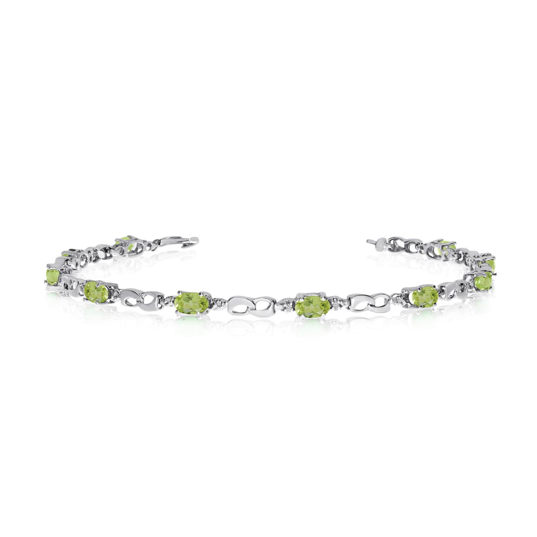 14K White Gold Oval Peridot and Diamond Link Bracelet by