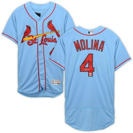 buy popular f0b28 2f582 Yadier Molina St. Louis Cardinals Autographed Majestic Powder Blue  Authentic Jersey - Fanatics Authentic Certified