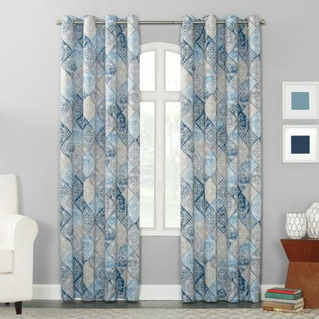 Sun Zero Terez Distressed Medallion Energy Efficient Grommet Curtain Panel