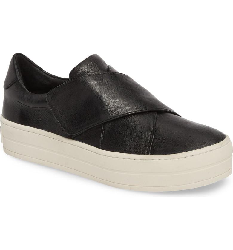 J Slides Harper Black Leather Modern