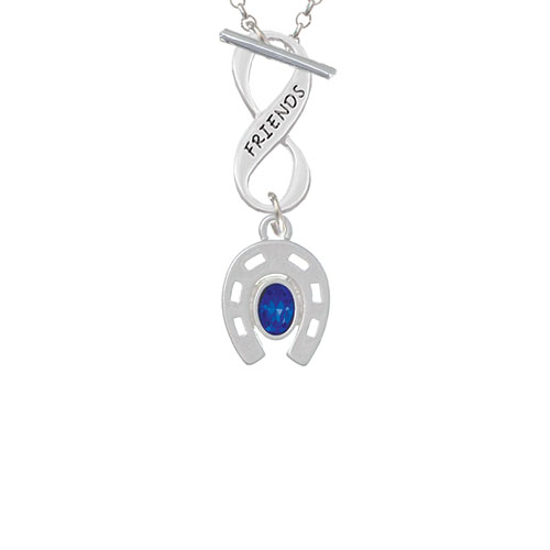 Horseshoe with Oval Blue Crystal Friends Infinity Toggle Chain Necklace