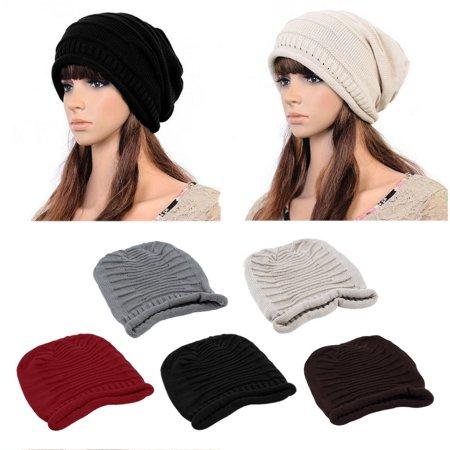 e2f1b9b72df Unisex Women Men Winter Warm Ski Knitted Crochet Baggy Beanie Hat Cap New -  Walmart.com