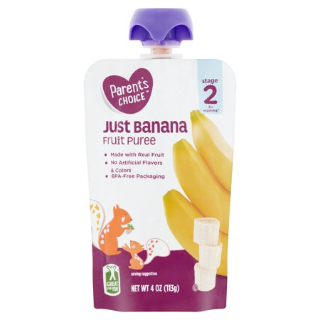 Parent's Choice Just Banana, Stage 2, 4 oz Pouch