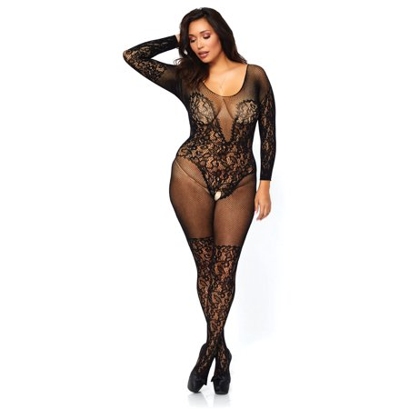 Women's Vine Lace and Net Long Sleeve Bodystocking, Black, Plus Size](Plus Size Bodystockings)
