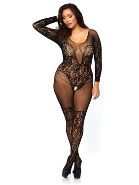 Product Image Women s Vine Lace and Net Long Sleeve Bodystocking a072a1b15