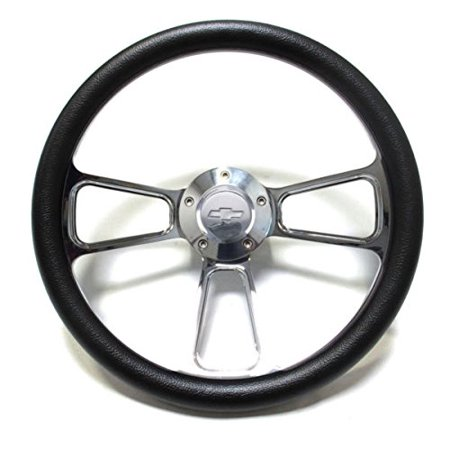 1974 - 1994 Chevy C/K Series Pick-Up Truck Black Steering Wheel, Billet Adapter Billet Steering Wheel Adapter