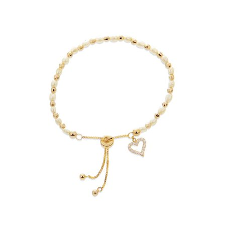 18k Gold Over Sterling Silver Freshwater Pearl And Created White Sapphire Adjustable Bracelet 10 Inches ()