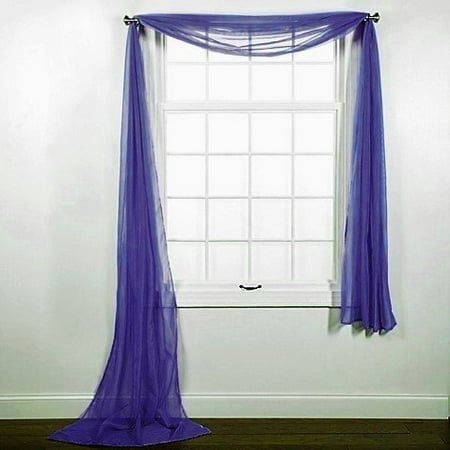 1 PC SOLID ROYAL BLUE SCARF VALANCE SOFT SHEER VOILE WINDOW PANEL CURTAIN 216