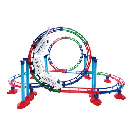 Trans Roller - Mozlly Mozlly Grand Up & Down Roller High Speed Coaster Fast Bullet Train Mini Machine with Light Up Headlight Play Vehicles Building Set Durable Loop Tracks Toy Ideal Gift Toys Games Play-set 15