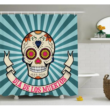 Sugar Skull Shower Curtain Graphic Ornamented With Diamond Leaf And Heart Shapes For