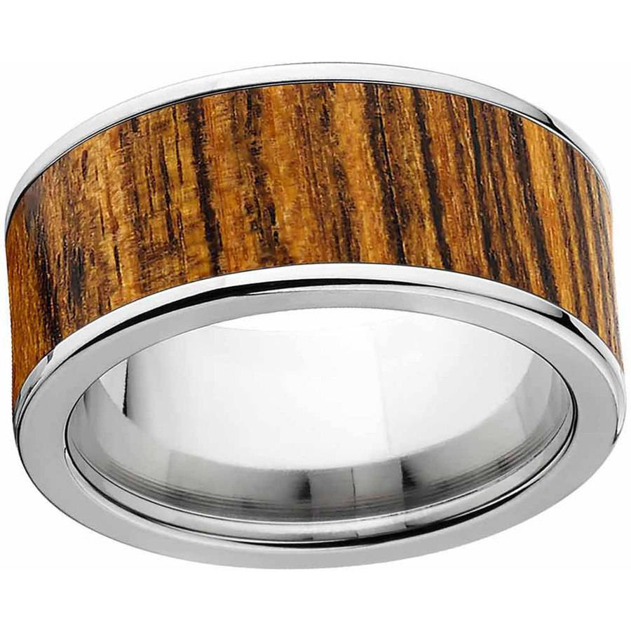 Men's Bocote Exotic Wood Ring Crafted in Durable Stainless Steel