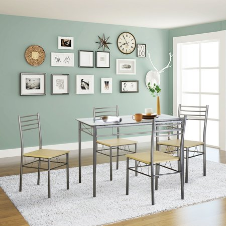 Admirable Vecelo Dining Set For 4 Rectangular Counter Height Table Glass Top With 4 Chairs Metal Silver Download Free Architecture Designs Rallybritishbridgeorg