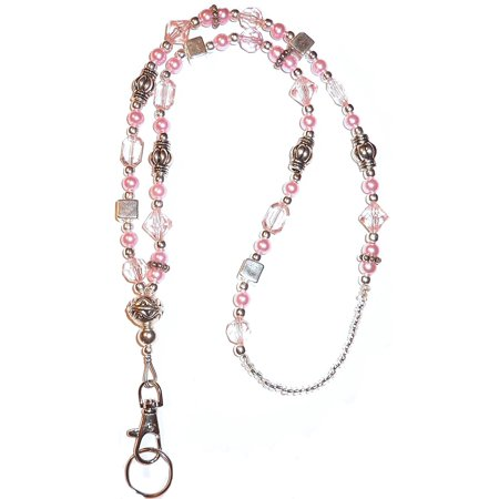 Hidden Hollow Beads Slim Pink Shimmer Women's Beaded Fashion Lanyard Necklace, Jewelry ID Badge and Key Holder, 34 in. (Cheap Lanyards In Bulk)