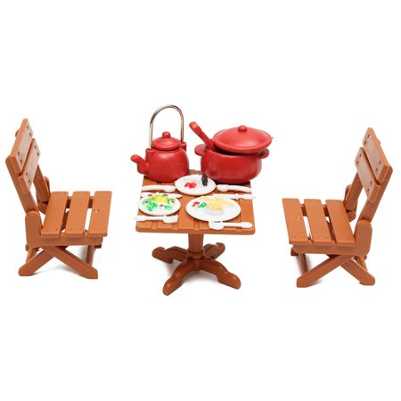Miniature Dining Table Chairs Cooking Tool Dolls House Toy Set Kitchen Furniture Kids Children Christmas Gift ()