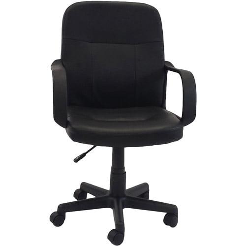 Hodedah PU Leather MidBack Office Chair Black Walmartcom