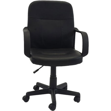 hodedah pu leather mid-back office chair, black - walmart