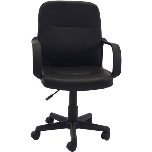 Hodedah PU Leather Mid-Back Office Chair, Black