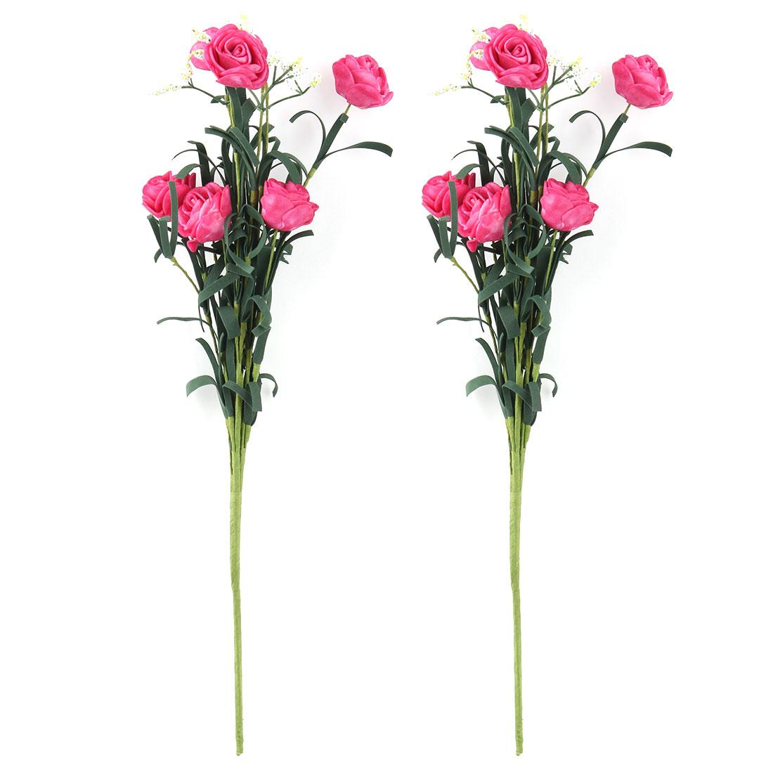 Wedding Foam Rose DIY Craft Artificial Flower Bouquet Embellishment Fuchsia 2pcs