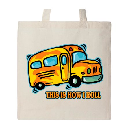 How I Roll School Bus Tote Bag (Roll Tote Bags)
