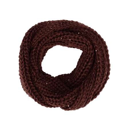 Beautiful Sequins (Girls Beautiful Infinity Scarf w/ Sequin Specks in Warm Cable Knit, Coffee )