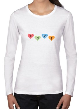 e395f34b Product Image Love Spelled Out in Valentine Day Colorful Hearts Women's Long  Sleeve T-Shirt. Hollywood Thread