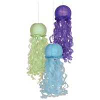 Mermaid Wishes Deluxe Jellyfish Paper Lanterns, 9.5in, 3ct