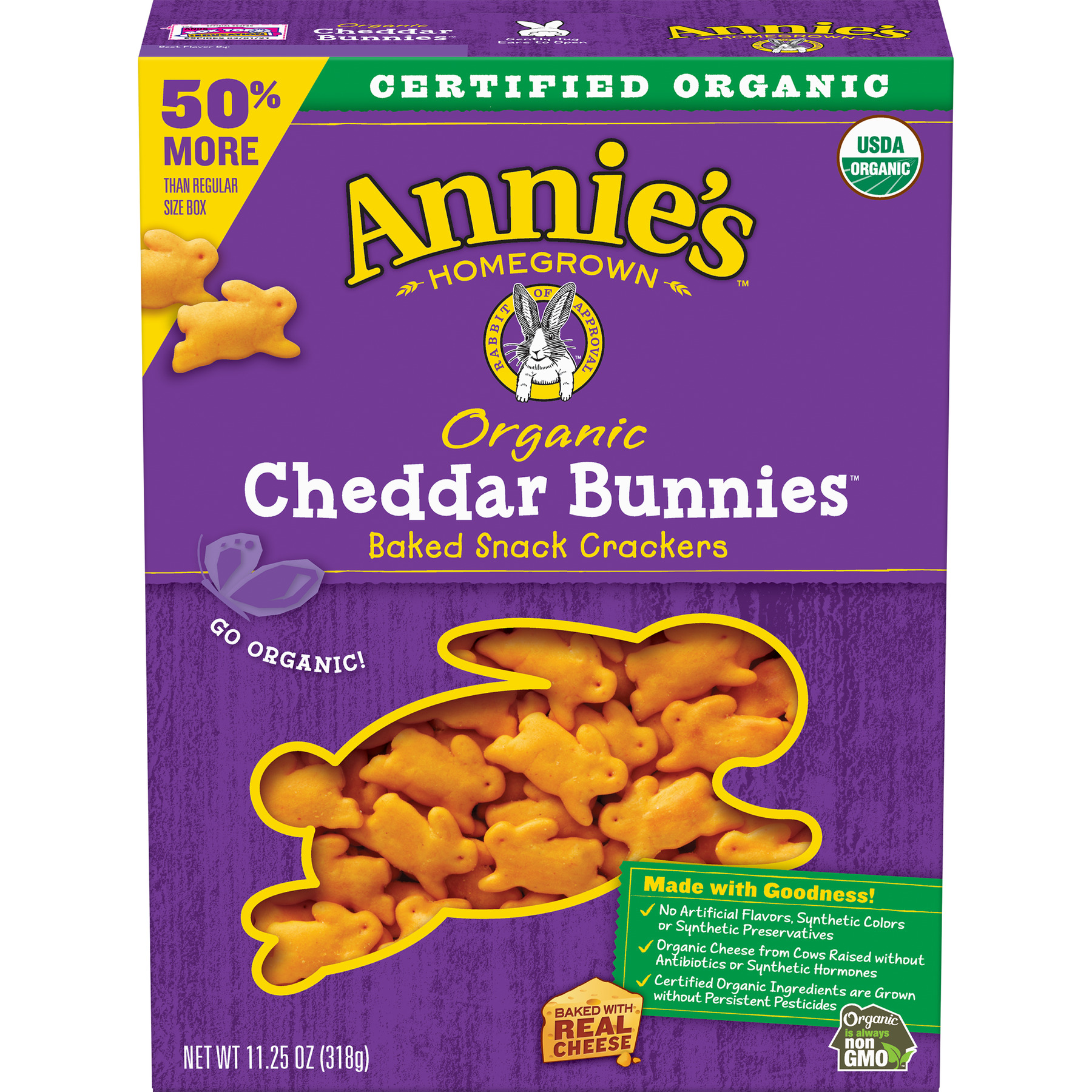 (2 Pack) Annie's Organic Cheddar Bunnies Baked Snack Crackers 11.25 oz