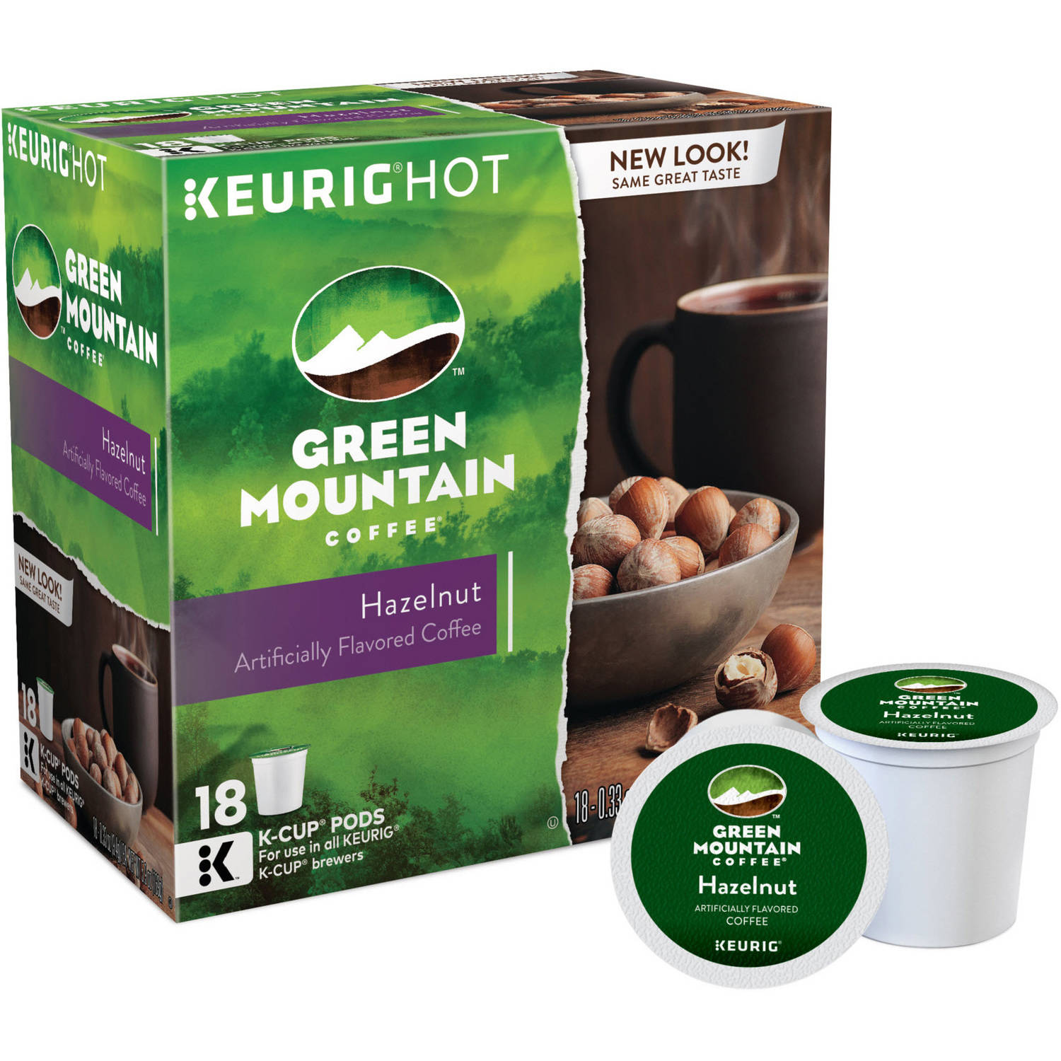 Green Mountain Coffee Hazelnut Light Roast K-Cups Coffee, 18 count