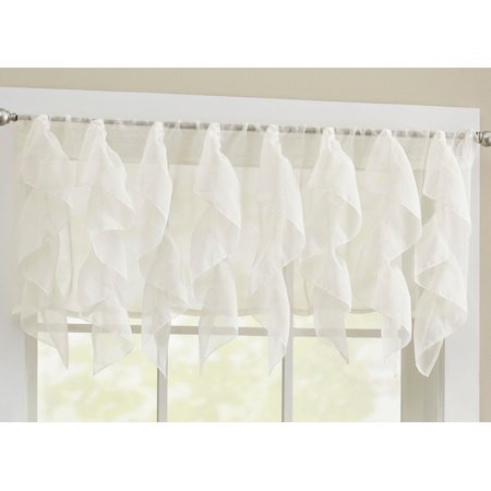 Sheer Voile Vertical Ruffle Window Kitchen Curtain 12