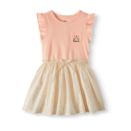 Wonder Nation Ruffle Sleeve Cinch Waist Dress (Toddler Girls) - Nice Girl Dress Up
