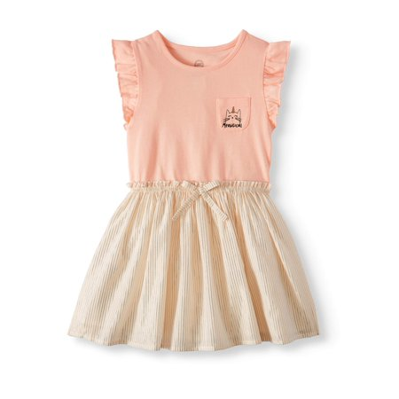 Wonder Nation Ruffle Sleeve Cinch Waist Dress (Toddler Girls) - Specialty Dresses