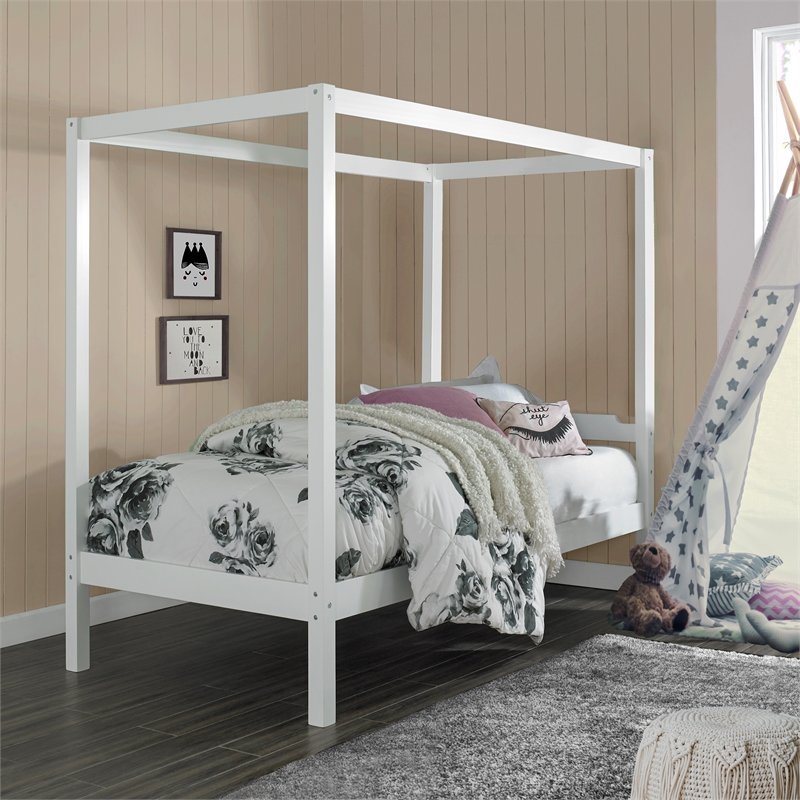Hillsdale Sutton Wood Canopy Bed Twin White Walmart Com Walmart Com