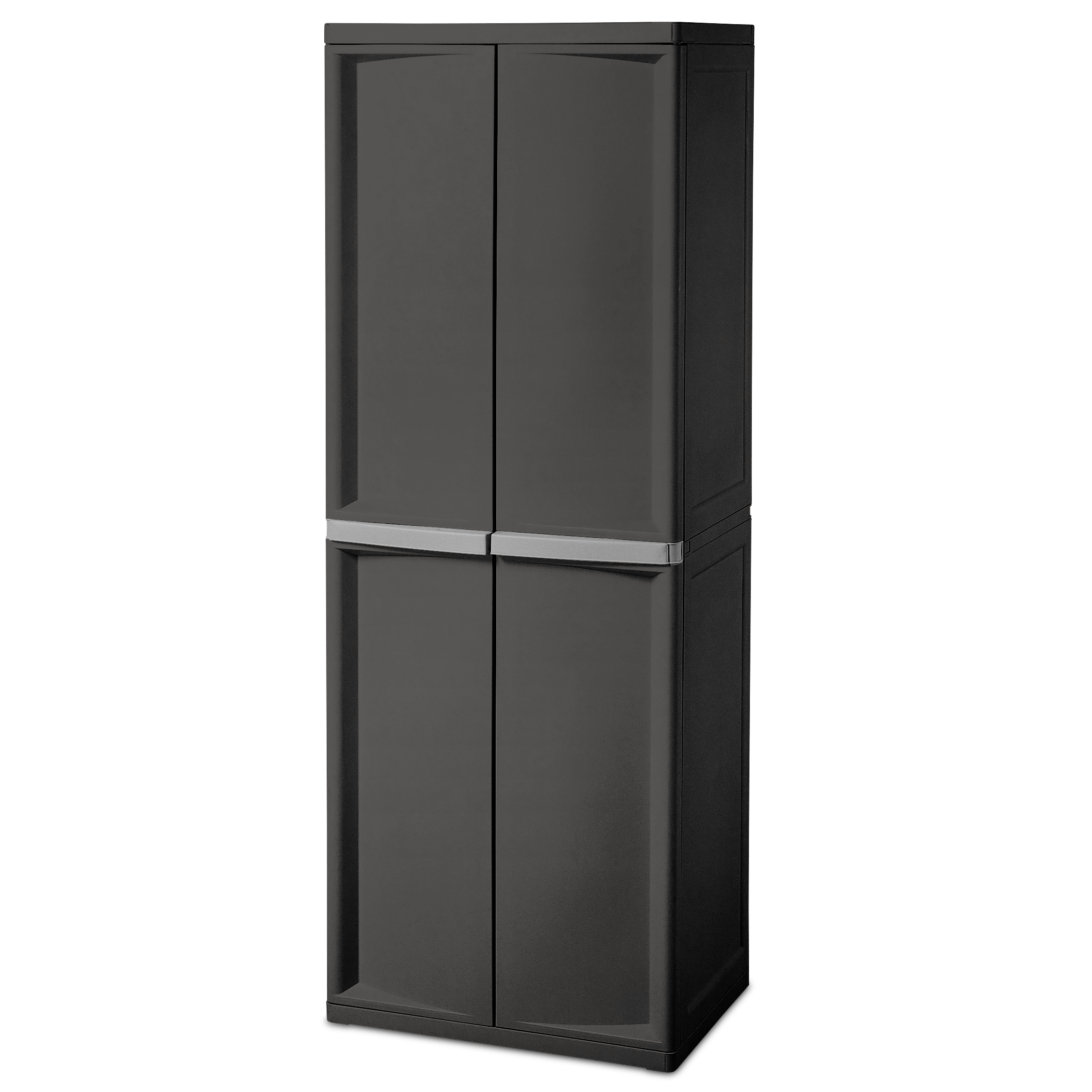 pack with handles platinum amazon utility com dp cabinet sterilite black kitchen gray shelf w putty flat home