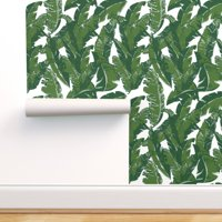 Removable Water-Activated Wallpaper Palm Tree Banana Leaf Tropical Botanical 80S