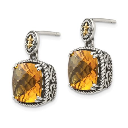 Natural Citrine 7.20 Carat (ctw) Post Drop Earrings in Sterling Silver with 14K Gold Accents - image 2 de 3