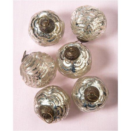 Large Mercury Glass Ornaments (Nola Design, Wave Ball Motif, 3-Inch, Silver, Set of 6) - Vintage-Style Decorations ()