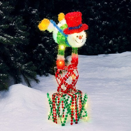 holiday time snowman on box light sculpture christmas decor 36 tall. Black Bedroom Furniture Sets. Home Design Ideas