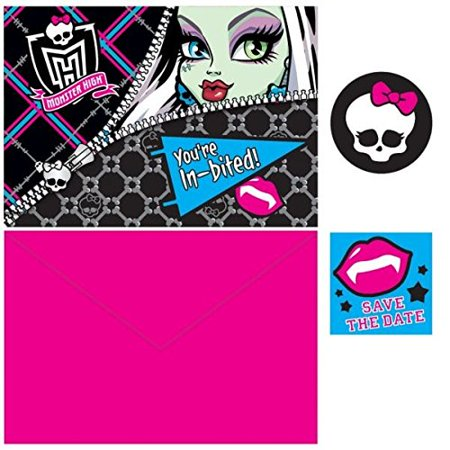 Monster High Shopping (Monster High Birthday Party Invitations Card Supply (8 Pack), Multi Color, 3.9