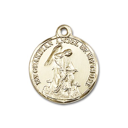 - 14kt Yellow Gold Guardian Angel Medal 7/8 x 3/4 inches