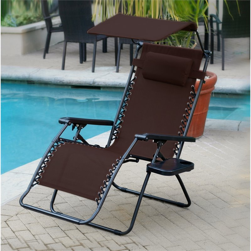 Jeco Oversized Olefin Oversized Zero Gravity Patio Recliner in Mocha