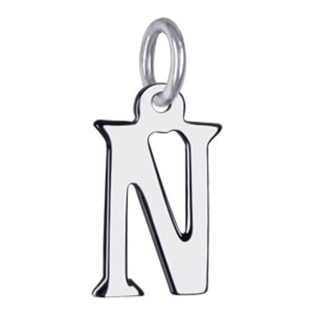Gem Avenue 925 Sterling Silver Initial N Charm Pendant