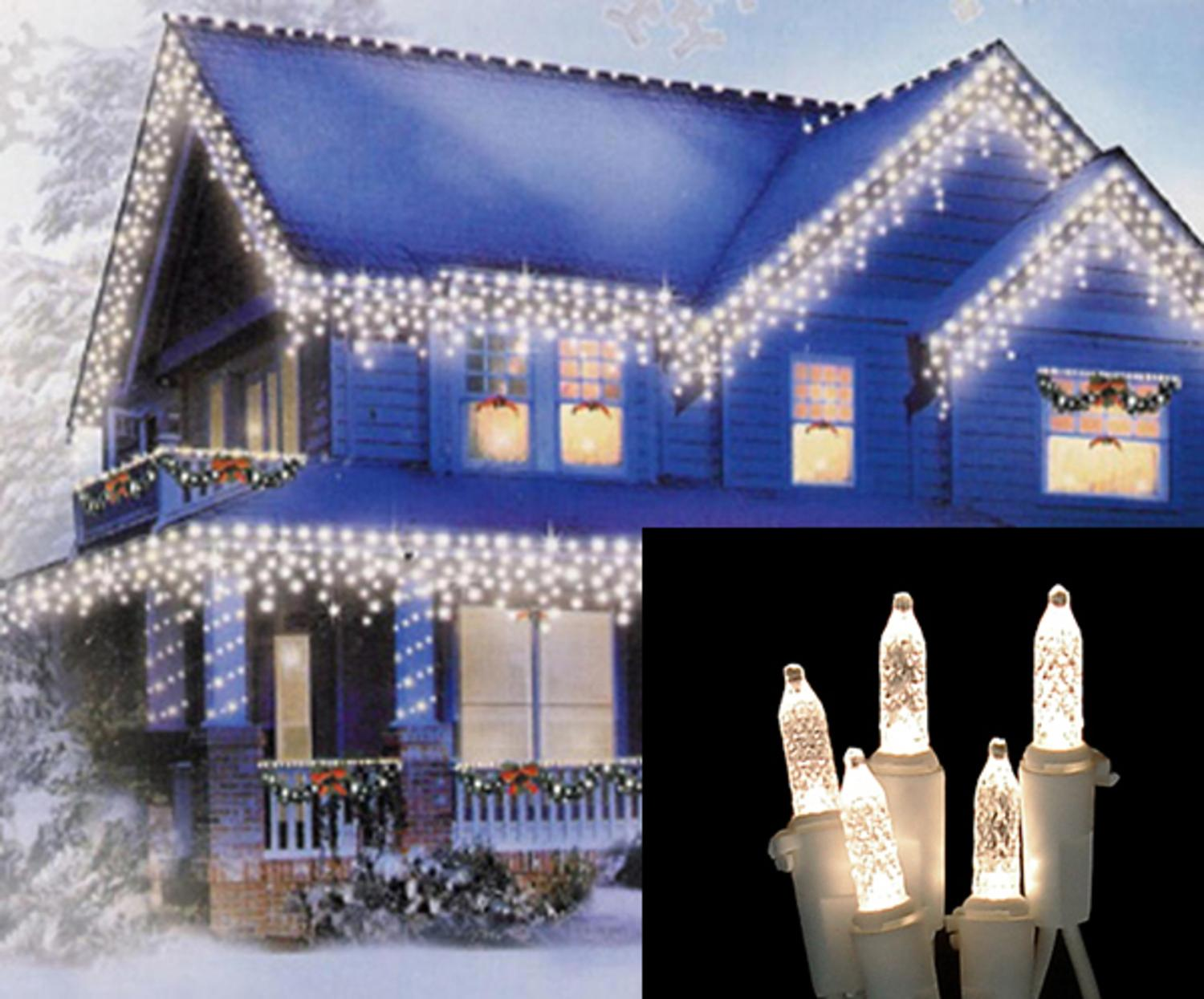 Set Of 100 Warm White Led M5 Icicle Christmas Lights Wire